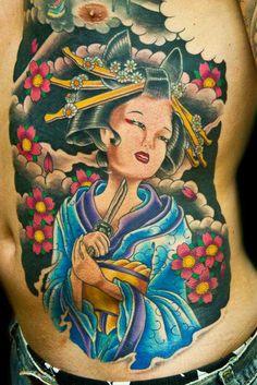 Geisha and Sakura Tattoo Design Full Color