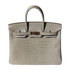 35cm Hermès Matte Pale Greige Porosus Crocodile Birkin Handbag
