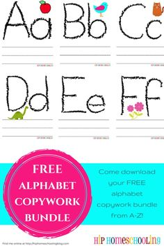 FREE alphabet copywork bundle from A-Z! Come download yours now, no strings attached!
