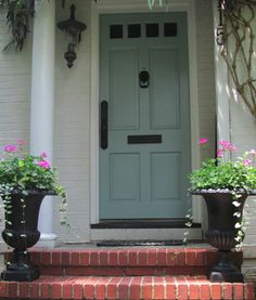 The Best Paint Colors for Your Front Door: Benjamin Moore Wythe blue or Stratton blue (Best Paint Benjamin Moore) House Paint Exterior, Exterior Paint Colors, Exterior House Colors, Exterior Doors, Exterior Design, Front Door Paint Colors, Painted Front Doors, Front Door Design, Paint Colors For Home