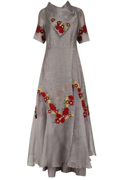Grey floral embroidered flared kurta and palazzo set available only at Pernia's Pop Up Shop.