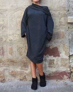 Grey Midi dress/ Oversized dress/ Long sleeve dress/ Casual dress/ Viscose knitted Maxi dress, jumper dress/ Turtleneck dress/ Winter dress