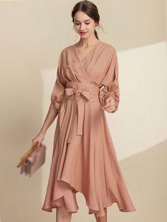 Fashion Irregular V-Neck Puff Sleeve Lacing Skater Dress Dresses For Teens, Simple Dresses, Cute Dresses, Casual Dresses, Dress Outfits, Fashion Dresses, Formal Dresses, Elegant Midi Dresses, Skater Outfits