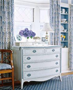 .bookshelf lined in blue