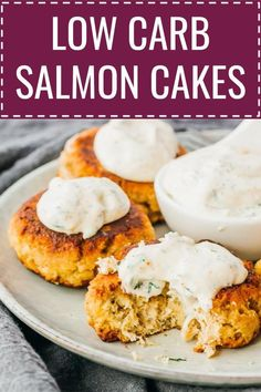 An easy and healthy recipe for crispy keto salmon patties served with a spicy dill-garlic sauce. You can use cooked salmon from canned or fresh, which is mixed with mayonnaise, egg, and almond flour. These simple salmon cakes are low carb and gluten free. Canned Salmon Cakes, Canned Salmon Patties, Best Salmon Patties, Canned Salmon Recipes, Salmon Patties Recipe, Fish Recipes, Seafood Recipes, Cooking Recipes, Healthy Recipes