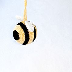 baby rattle - Bee - organic cotton - gift for baby - bumble bee - amigurumi - teething toy - crochet toy. $17.00, via Etsy.