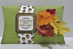 Stampin' Up altered Double Pillow Box Treat/Card Holder made by Lynn Gauthier using SU Square Pillow Box Thinlits Die, Vintage Leaves and A Little Something Stamp Sets and Into the Woods DSP. Go to http://lynnslocker.blogspot.com/2015/10/stampin-up-double-fun-square-pillow-box.html for details on how to make this project.