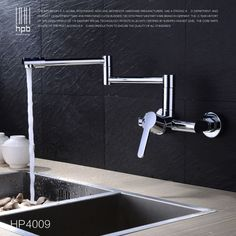 HPB Copper Wall Mounted Kitchen Faucet Sink Bathroom faucets Mixer Tap Cold Hot Water taps Chrome Swivel Spout HP4009 #Affiliate