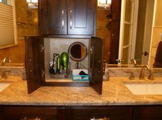 Hair Dryer Storage Design Ideas, Pictures, Remodel, and Decor - page 3 Laundry Room Bathroom, Downstairs Bathroom, Master Bathroom, Bathroom Ideas, Bathrooms, Bath Ideas, Hair Dryer Storage, Storage Design, Kids Bath