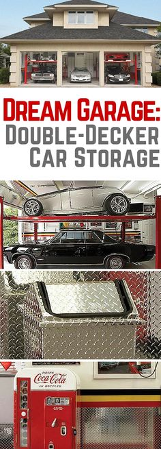 Dream Garage: Double-Decker Car Storage Five cars in a three-car garage http://www.familyhandyman.com/garage/dream-garage-double-decker-car-storage/view-all