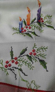Xmas Cross Stitch, Cross Stitch Christmas Ornaments, Cross Stitch Heart, Cross Stitch Cards, Cross Stitch Flowers, Cross Stitch Kits, Cross Stitch Designs, Cross Stitching, Cross Stitch Embroidery