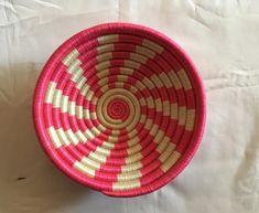 """PINK basket Decor / 7"""" basket/ interior design/ Rwanda baskets/ Coiled basket/ Afro basket decor/ Small basket decor/ Baskets style/ Vint"""