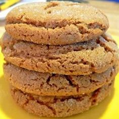 The molasses cookies from this recipe taste like gingersnaps thanks to the use of ginger, cinnamon, and cloves.