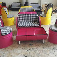 Drum Chair, Metal Drum, Barrel Furniture, Oil Drum, Mongolian Beef, Daughters Room, Cute Home Decor, Popcorn, Drums