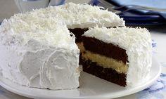 Receita de Bolo de chocolate com recheio de trufa de coco - Bolo - Dificuldade: Fácil - Calorias: 657 por porção