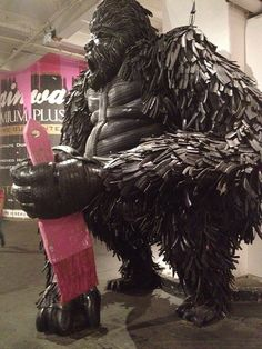 Mr Brainwash show, London. Sculpture made from old tires.