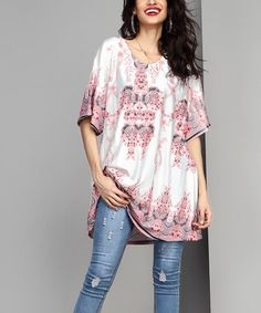 f4a8be5c6d5ec Reborn Collection White   Pink Floral Boyfriend Tunic - Women   Plus