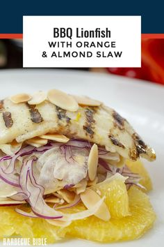 BBQ Lionfish with Orange and Almond Slaw - Barbecued lionfish served with a tangy coleslaw with crunchy and aromatic additions of fennel orange and almonds. Perfect for summer. Slaw Recipes, Fish Recipes, Crockpot Recipes, Great Recipes, Chicken Recipes, Favorite Recipes, Barbecue Recipes, Grilling Recipes, Tangy Coleslaw Recipe