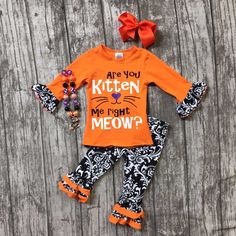 Fall/Winter baby girls ARE YOU KITTEN ME RUGHT Meow outfits Halloween Aztec pant boutique clothing kids ruffle match accessories #Affiliate