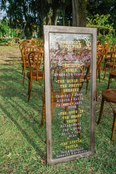 Magnolia Plantation Wedding Program Board