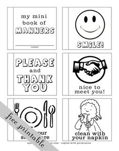 A Year of FHE // Check out this cute mini book for kids to color that teaches them about good manners! #lds #manners #familyhomeevening