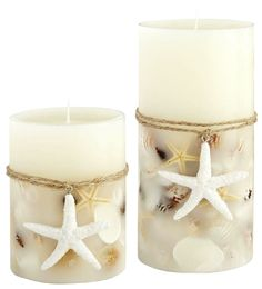 DIY Candles with Embedded Shells: http://www.completely-coastal.com/2014/11/making-embedded-shell-candles.html