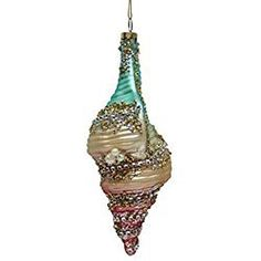 December Diamonds Rainbow Tulip Sea Shell Glass Christmas Ornament 7980610 Beach