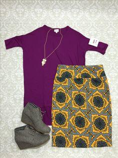 lularoe fall outfit wine plum burgundy irma tunic yellow gray graphic cassie stretchy pencil skirt toms herringbone dessert wedges