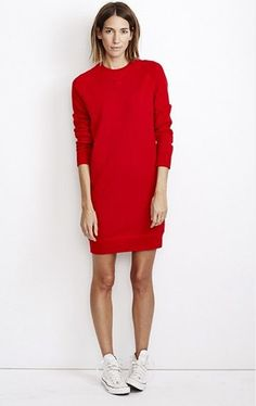 RED sweater dress and converse
