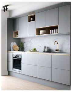 Grey Kitchen Designs, Kitchen Room Design, Kitchen Cabinet Design, Modern Kitchen Design, Home Decor Kitchen, Rustic Kitchen, Interior Design Kitchen, Kitchen Grey, Kitchen Ideas