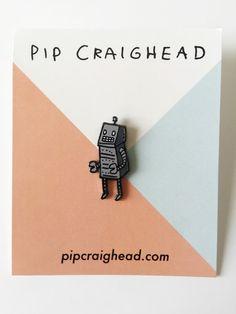 Robot Enamel Pin by pipcraighead on Etsy
