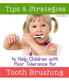 Tips & Strategies to Help Children with Poor Tolerance for Tooth Brushing. Information for therapists and parents/caregivers to use regarding sensory challenges at home. Oral Motor Activities, Sensory Activities, Sensory Toys, Therapy Activities, Therapy Ideas, Pediatric Occupational Therapy, Pediatric Ot, Sensory Diet, Sensory Issues