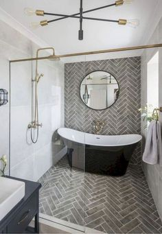 Small bathroom renovations 346284658849948934 - Extravagant master bathroom – complete with freestanding tub and herringbone tile wet room. Source by creativeshanice Bad Inspiration, Bathroom Inspiration, Bathroom Renos, Bathroom Renovations, Bathroom Makeovers, Bathroom Layout, Wet Room Bathroom, Decorating Bathrooms, Brown Bathroom