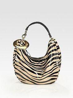 ebed5f4b53 Jimmy Choo Small Zebra Stripe Patent Leather Hobo Bag #Pradahandbags  #smallhandbagsonline Prada Handbags,