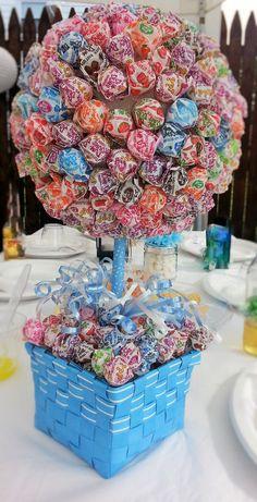 Lollipop tree centerpiece-wedding, baptism, confirmation centerpiece-wedding table decorations-dum dum lollipop tree-DIY keepsake-DIY favors