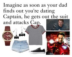 """Captain America and Iron Man Imagine"" by book-girl-4 ❤ liked on Polyvore featuring Monki, Converse, Marc by Marc Jacobs, imagine, Avengers, ironman and CaptainAmerica"
