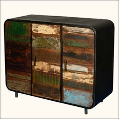 Bring home a beautiful combination of industrial design and Eco-friendly materials in our Retro Reclaimed Wood and Iron 3 Door Industrial Buffet. Its a fabul. Modern Rustic Furniture, Modern Buffet, Reclaimed Wood Furniture, Solid Wood Furniture, Handmade Furniture, Buffet Cabinet, Sideboard Buffet, Large Sideboard, Solid Wood Desk
