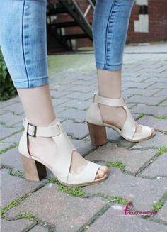 Alura Bej Kalın Topuklu Ayakkabı