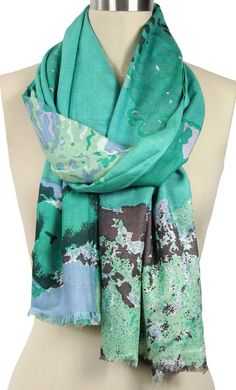 Teal Abstract Flower Scarf/Sarong