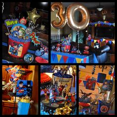 Crafty Polly's party decorations for a super fun theme party. Comic Con Super Hero party! Superman, Batman, Justice League, Spiderman, Avengers, lots of balloons and banners!
