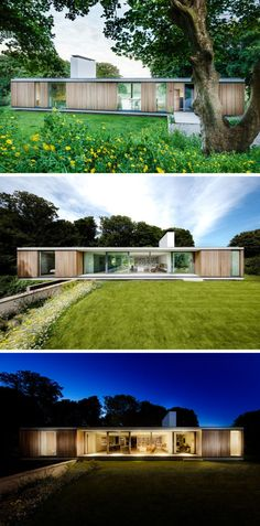 Ström Architects have designed this new contemporary home in Swanage, England, that's a replacement for an aging bungalow that had been on the site since Modern Architecture House, Modern House Design, Architecture Design, Home Design, One Storey House, Casas Containers, Small Modern Home, Modern Mansion, Modern Exterior