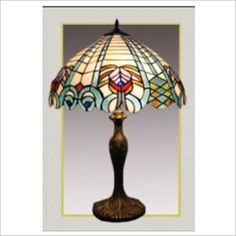 Tiffany Stained Glass Peacock Table Lamp Baymark