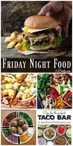 Friday Night Food Ideas for Quick & Easy Meals - 31 Daily - - Are you looking forward to Friday? How about celebrating with Friday Night Foods with recipes that are quick, easy, and fun? Game Night Food, Movie Night Snacks, Friday Night Dinners, Friday Nights, Girls Night Dinners, Girls Night Food, Quick Easy Meals, Easy Dinners, Gourmet