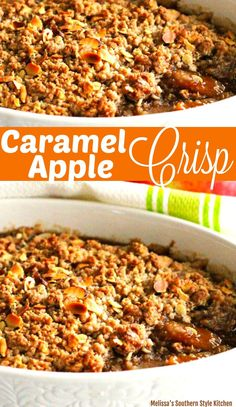 The combination of apples, oats and cinnamon is simply delightful in this Caramel Apple Crisp. Carmel Apple Crisp Recipe, Paleo Apple Crisp, Caramel Apple Crisp, Apple Crisp Recipes, Caramel Apples, Apple Dessert Recipes, Fruit Recipes, Fall Recipes, Delicious Desserts
