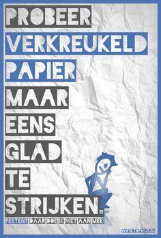 Poster en lesactiviteit over pesten: Verkreukel een papier en probeer het weer glad te strijken.