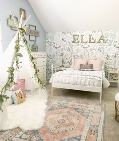 Little Girl Decor and Bedroom Reveal & Bless This Nest Big girl bedroom ideas. Wallpaper in girl& room The post Little Girl Decor and Bedroom Reveal appeared first on Trendy. Big Girl Bedrooms, Little Girl Rooms, Girls Flower Bedroom, Girls Bedroom Colors, Girls Bedroom Canopy, Girls Bedroom Turquoise, Girls Room Curtains, Dream Bedroom, Toddler Rooms