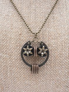 Owl Necklace Starry Eyed Bicycle Chain Hardware Steampunk Necklace Black Bronze (@Laura Simmons