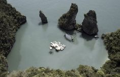 Floating Movie Theater in lagoon.   Film on the Rocks, Yao Noi.  COOL!