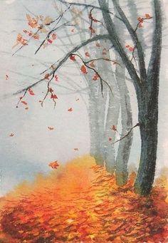 Hand painting by artist Natalja Picugina. O RIGINAL ACEO PAINTING. Fall Canvas Painting, Tree Watercolor Painting, Watercolor Landscape Paintings, Autumn Painting, Landscape Drawings, Autumn Art, Abstract Watercolor, Landscape Art, Watercolor Portraits