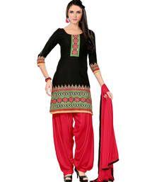 Buy black and red embroidered cotton semi stitched salwar with dupatta anarkali-salwar-kameez online